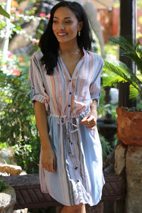 Light Blue Striped Shirt Dress