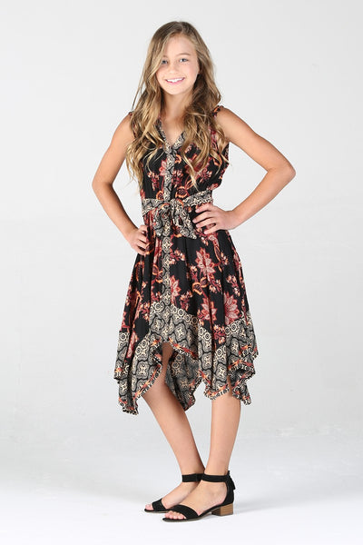 Scarf Hem Girls Dress