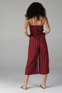 Red/Black Striped Crop Jumpsuit