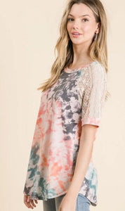 French Terry Tie Dye Top with Lace Sleeves
