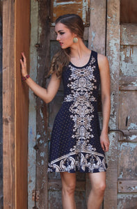 Navy Printed Racer Back Dress