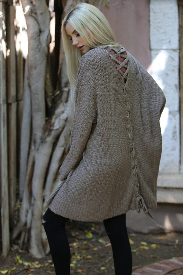 Taupe Lace Up Back Cardigan