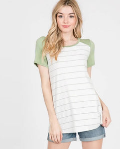 S/S Baseball Striped Tee in Lime