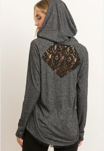 Lace Inset Long Sleeve Hoodie