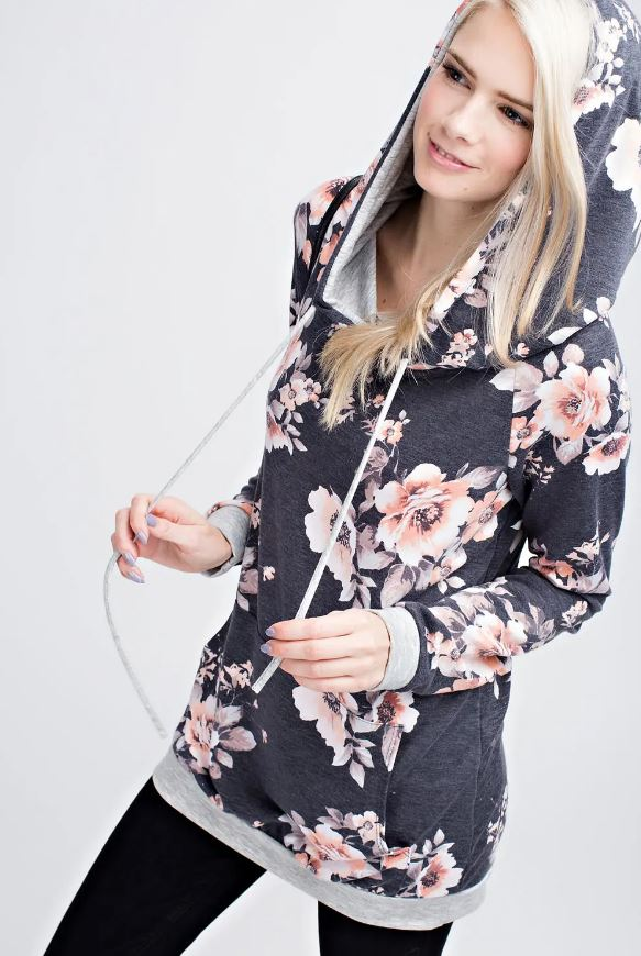 Blooming Floral Navy Hoody Women's (Mommy & Me Style)