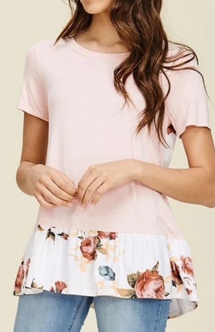 Solid and Floral Contrast Ruffle Top Blush