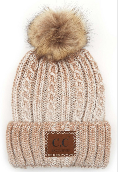 CC Beanie *ADULT* Ombre Cable Knit with Pom **PRE_ORDER**