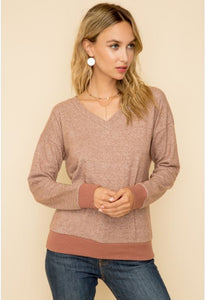 Brushed Hacci Pullover Top w/ Crochet Back