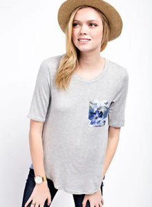 Floral Pocket Tee H. Grey & Blue