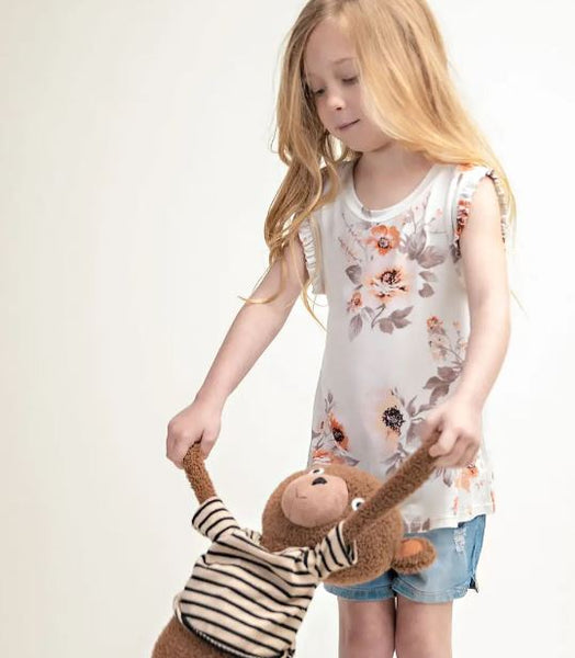 Floral Ruffle Sleeve Kid's Tank (Comes in Mommy & Me)