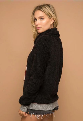 Fuzzy Cowl Neck Black Sweater