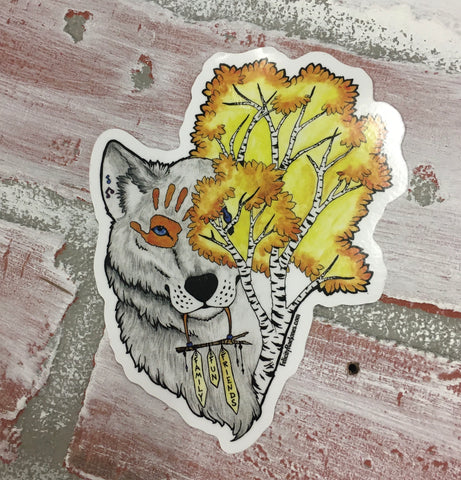 Family, Fun, Friends Wolf Sticker