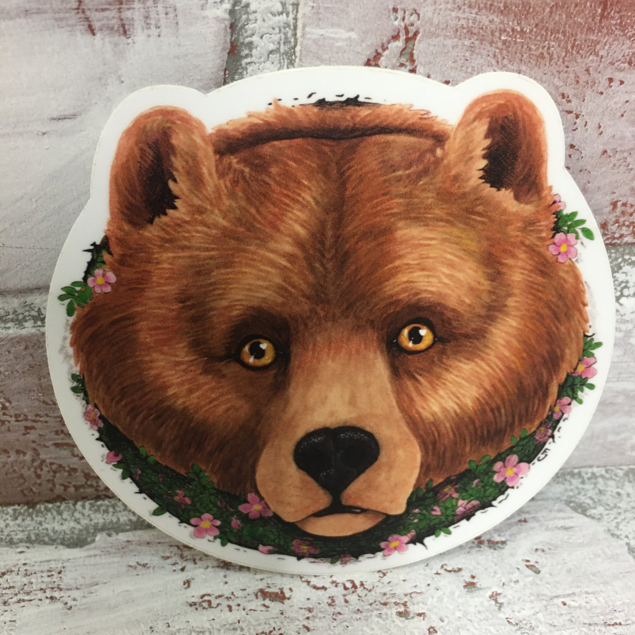 Bear with Pink Flowers (Mama Bear) Sticker