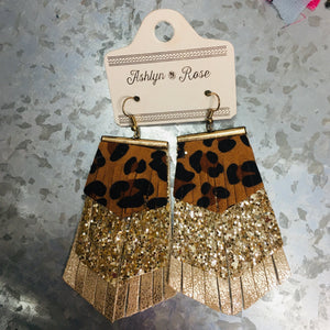 Leather Tiered Gold Earrings