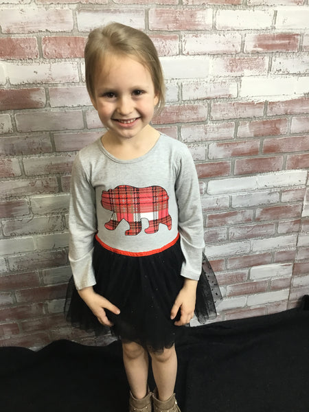 Plaid Bear Tutu Dress - Kids