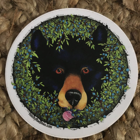 Black Bear in Blueberry Patch Sticker