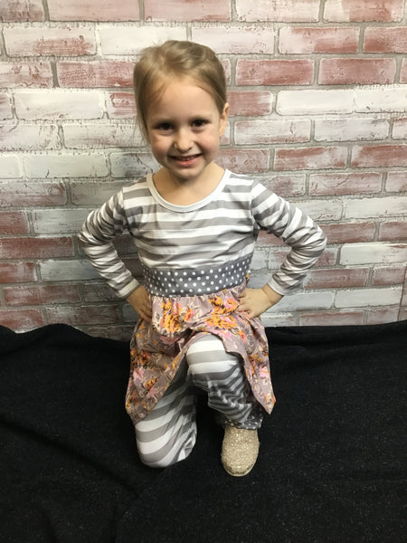 Grey Stripe Boutique Outfit Set - Kids