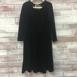 Black Sparkles Skater Dress - Kids
