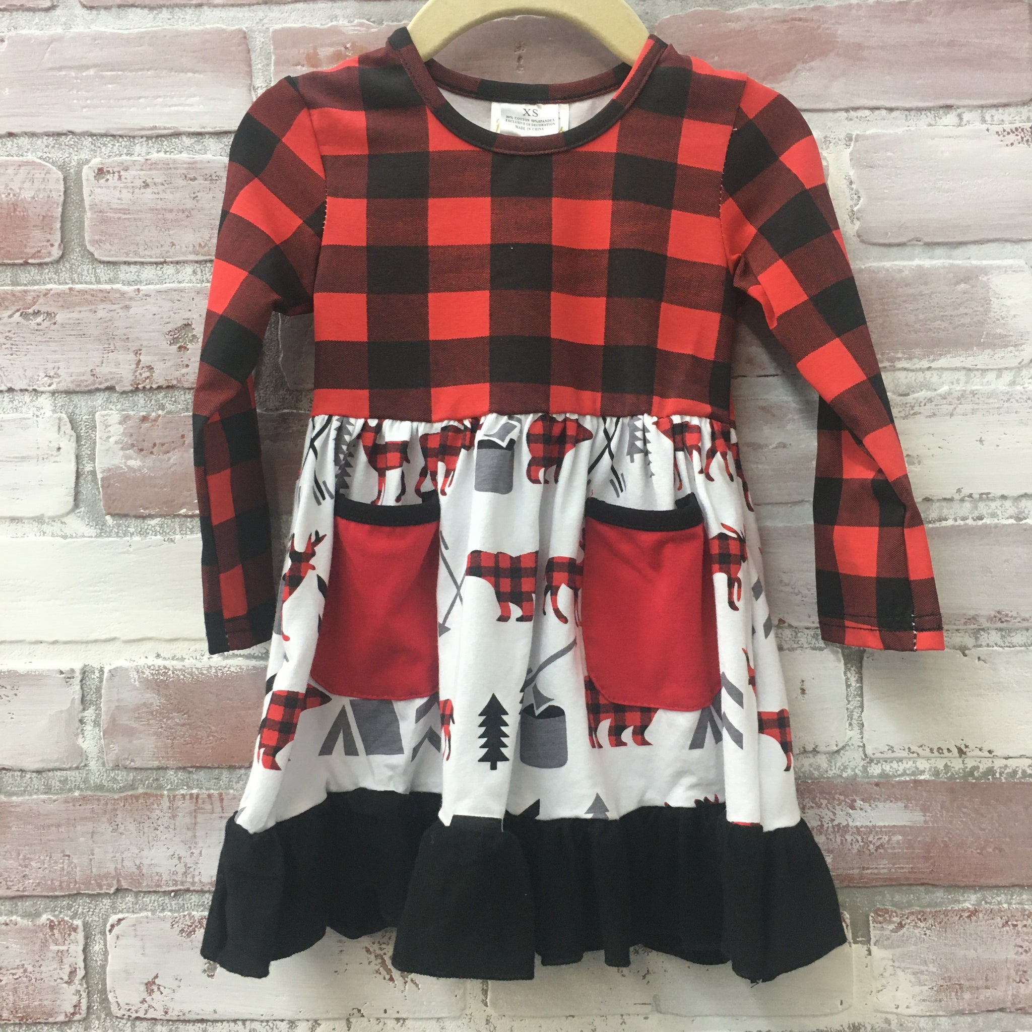 Red/Black Plaid Moose & Bear Dress