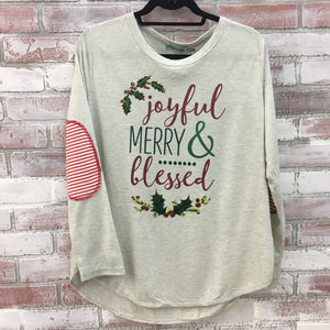 Joyful Merry & Blessed Long Sleeve Top