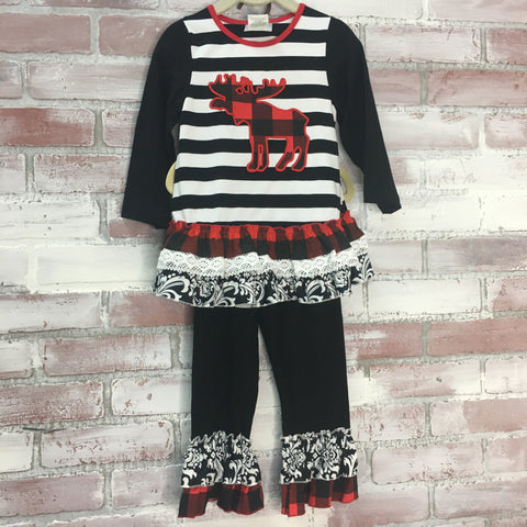 Moose Plaid & Striped Kid's Set