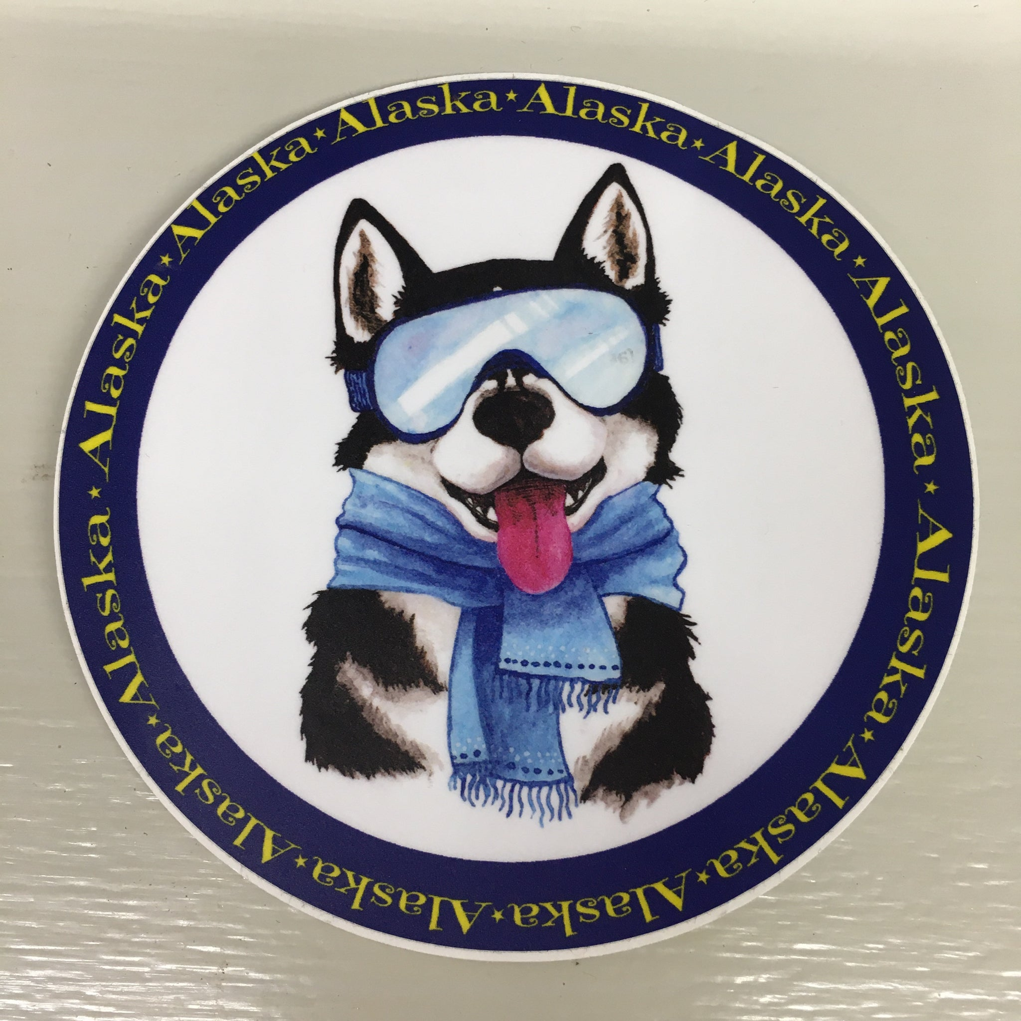 Alaska Around Fun Husky Dog Sticker