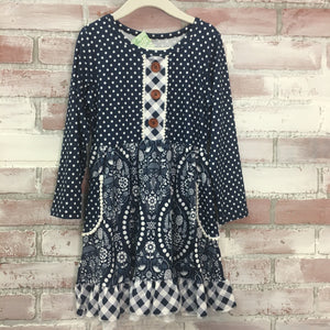 Navy Motif Polka Dot Dress - Kids