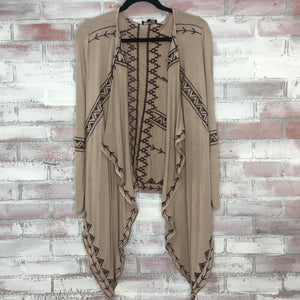 Beige Aztec Embroidered Shrug