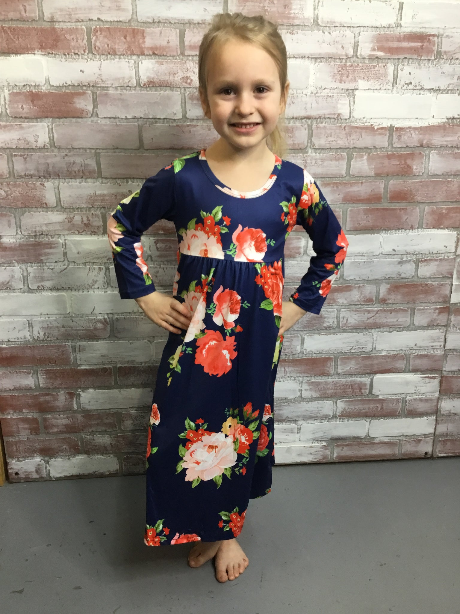 Navy Kid's Maxi in Floral