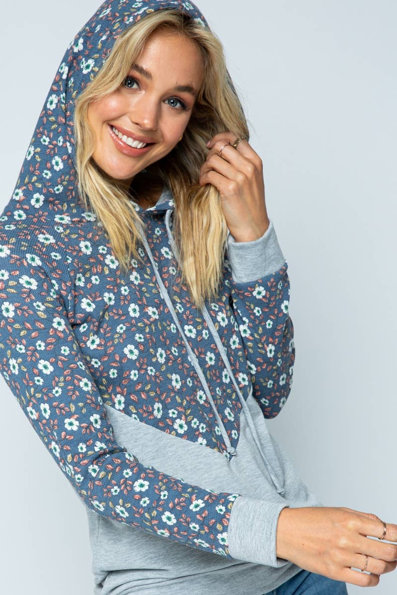 Denim Floral & Heather Grey Hoodie