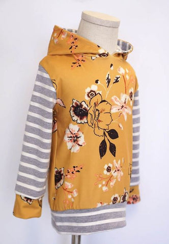 Floral Mustard & Grey Stripe Hoody - Kid's