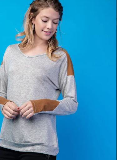 Long Sleeve Top with Corduroy Accents