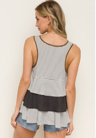 Striped/Polka Dot Tiered Ruffle Tank