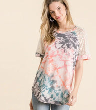 Load image into Gallery viewer, French Terry Tie Dye Top with Lace Sleeves