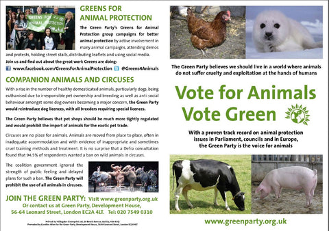 50 A5 Leaflets: Vote for Animals, Vote Green
