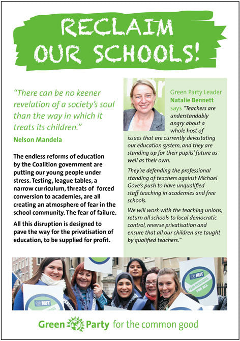 100 A5 x 2 sides leaflets: Reclaim Our Schools