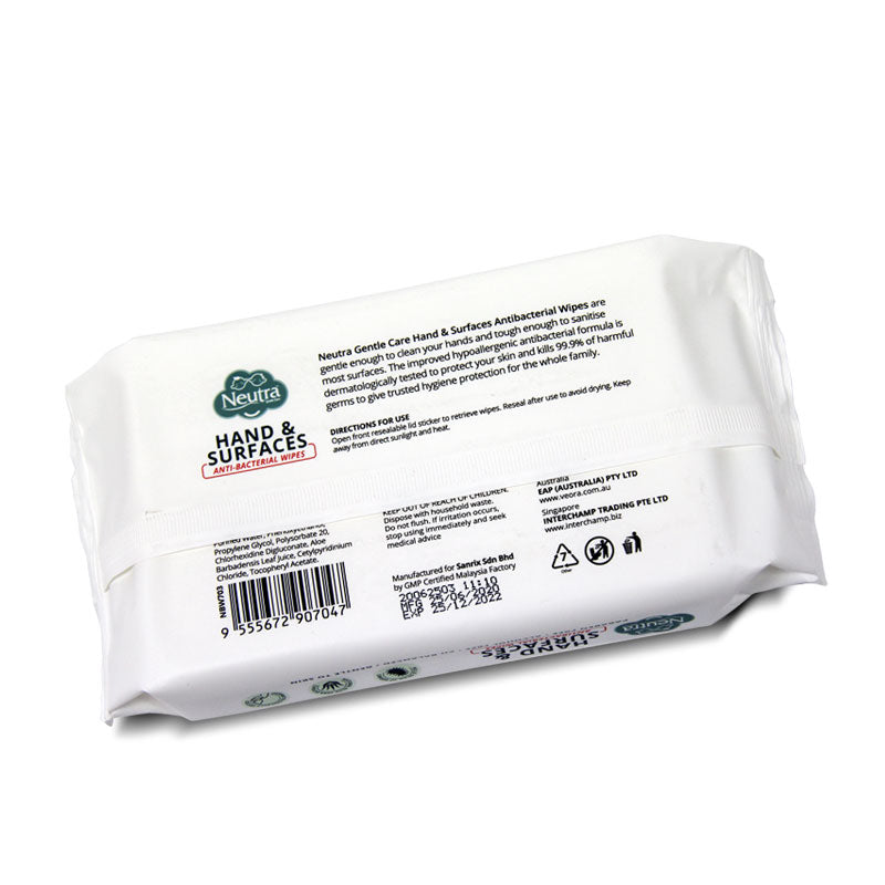 Neutra Hand & Surfaces Antibacterial Wipes 50 Sheets
