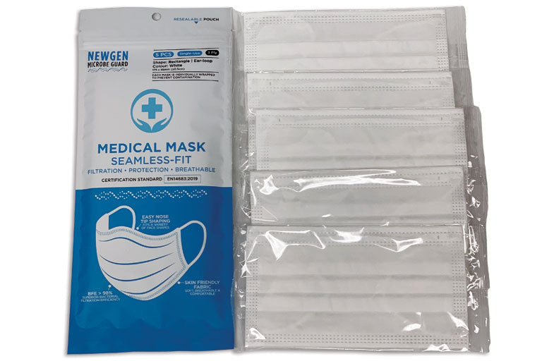 Newgen Microbe Guard-TGA Approved 3-Ply Level 2 White Medical Face Mask 5pcs Resealable Pack- BFE>98%