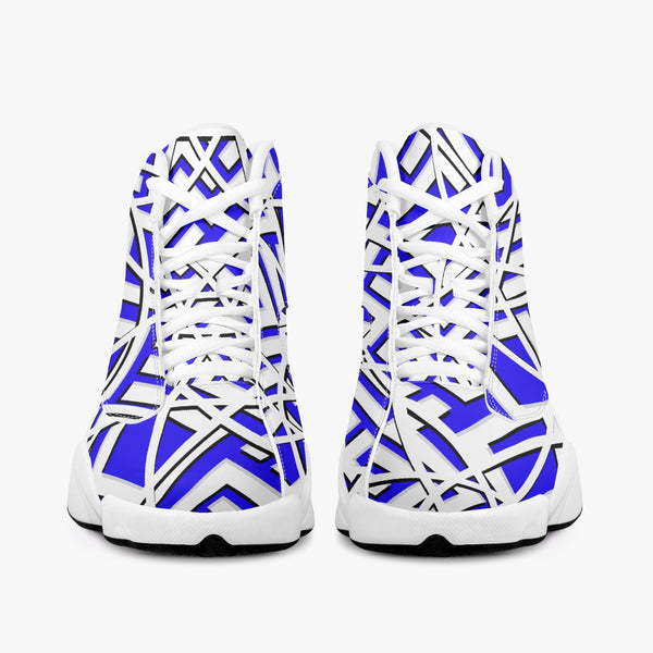 Majestic Royal Blue High Top Leather Basketball Sneakers