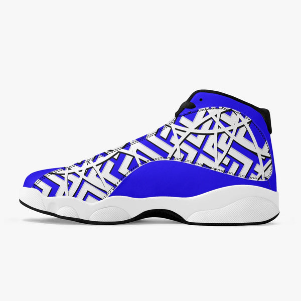 Majestic Blue High Top Leather Basketball Sneakers