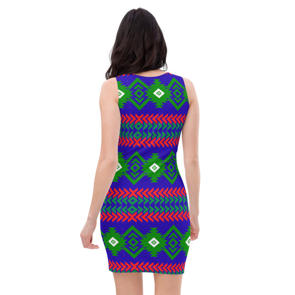 Royal Tribe Themed Blue Fitted Dress