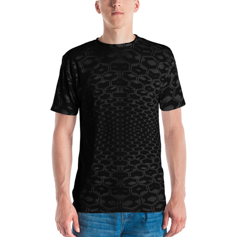 3-D Black Honeycomb Men's T-shirt