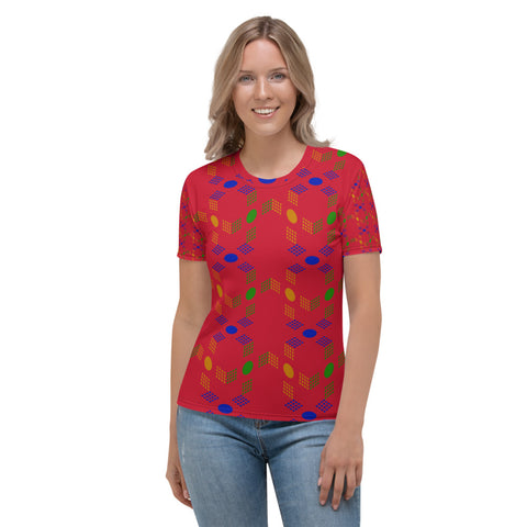 3D Cube Design Women's T-shirt