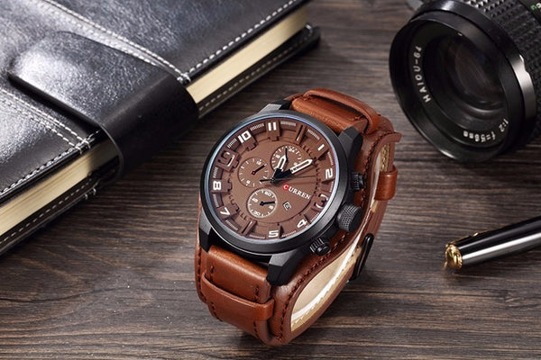 Military Style Leather Watch