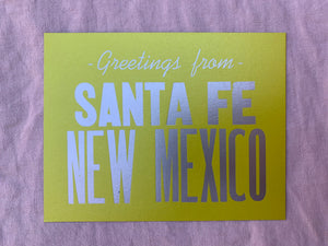 Greetings from Santa Fe, New Mexico hand printed postcard