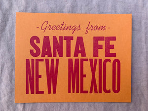 Greeting from Santa Fe, New Mexico hand printed postcard