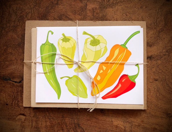 Peppers - Chile Greeting Cards - Set of 5