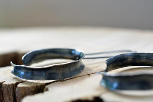 open circle earrings ~ dark patina organic look ribbon ~ recycled silver earrings