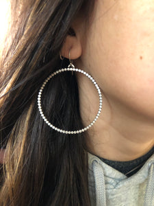 Large Silver Beaded Hoop Earrings - circles