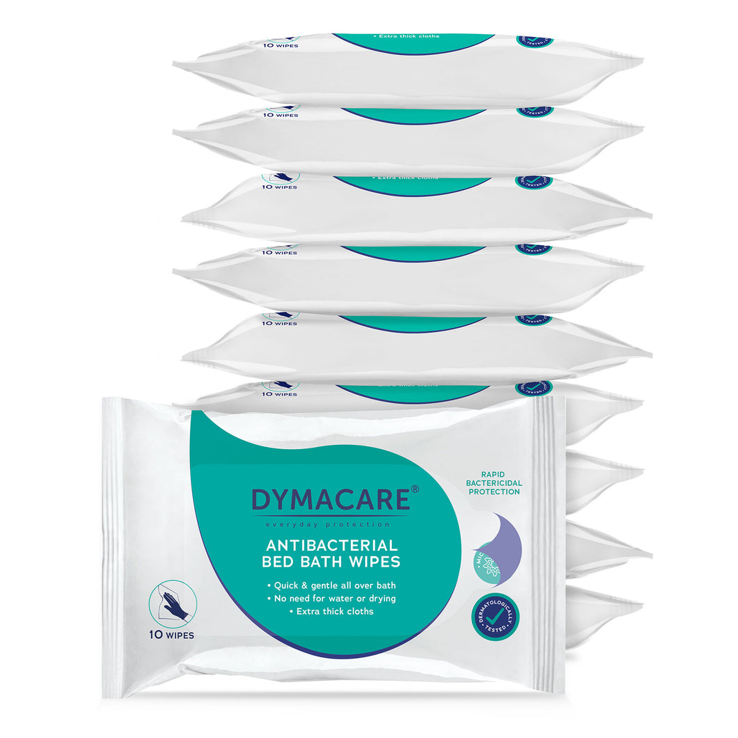dymacare antibacterial bed bath wipes ere effective against 99.999% barteria and 99.99% of coronavirus. Stay safe and protected.